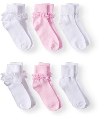 Wonder Nation Lace Dress Socks, 6 Pairs (Little Girls & Big Girls)