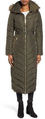 Women's Michael Michael Kors Belted Down & Feather Fill Long Coat With Faux Fur Trim Hood $298 thestylecure.com