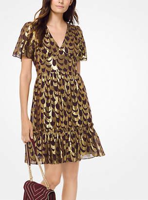 Michael Kors Scalloped Silk Jacquard Dress
