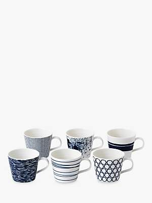 Royal Doulton Pacific Porcelain Small Mugs, 87ml, Assorted, Set of 6, Blue/White