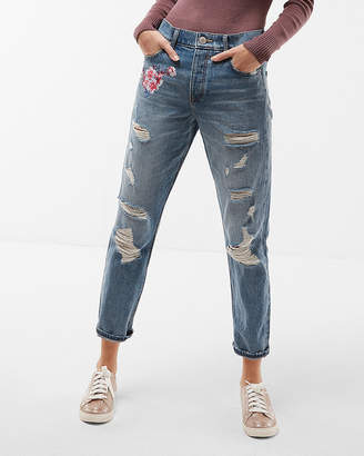 Express High Waisted Floral Distressed Original Skinny Jeans
