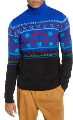 Topman Reindeer Fair Isle Turtleneck Sweater