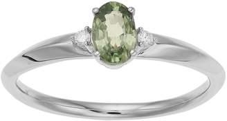 Lauren Conrad 10k White Gold Green Sapphire & Diamond Accent Oval Ring