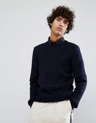 Clean Cut Copenhagen Cable Knit Stretch Muscle Crew Neck