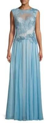 Tadashi Shoji Lace Open-Back Floor-Length Gown