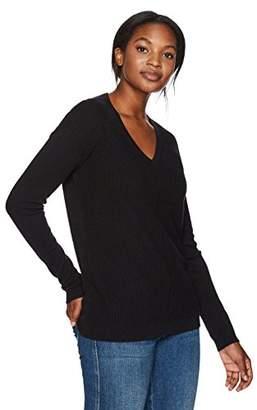 Lark & Ro Women's 100% Cashmere 12-Gauge Textured Front Deep V-Neck Pullover
