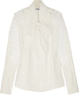 ALICE by Temperley Angelina tulle-paneled chiffon blouse $395 thestylecure.com