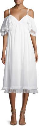 McQ Pleated Flutter-Sleeve Midi Dress