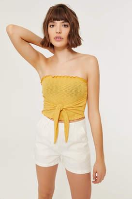 Ardene High Waist Cuffed Linen Shorts