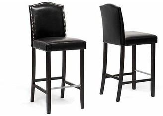 "Wholesale Interiors Libra 44.5"" Modern Bar-Height Stool with Nail Head Trim, Set of 2, Black"