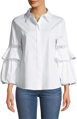 Laundry by Shelli Segal Lace-Embroidered Button-Front Blouse