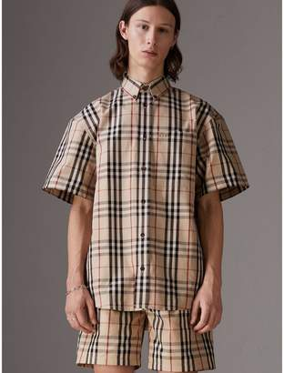 Burberry Gosha x Short-sleeve Check Shirt, Yellow