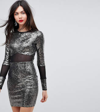 Asos Tall TALL All Over Sequin With Mesh Inserts Mini Dress