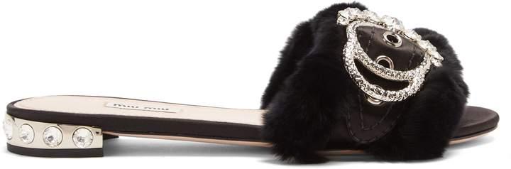 MIU MIU Crystal-embellished satin and rabbit-fur slides