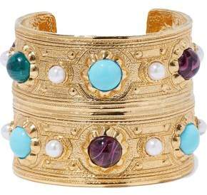 Ben-Amun Hammered Gold-Tone Bead And Faux Pearl Bracelet