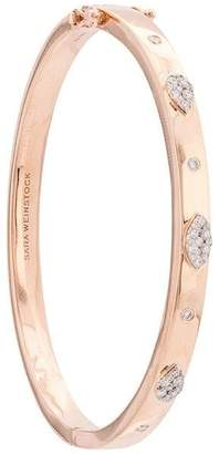 Sara Weinstock Small Rose Gold 2 Pear/1 Marquis Clusters White Diamond Oval Bangle with Hinge