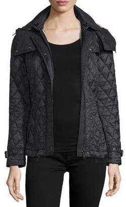 Burberry Finsbridge Hooded Quilted Short Jacket, Black $695 thestylecure.com