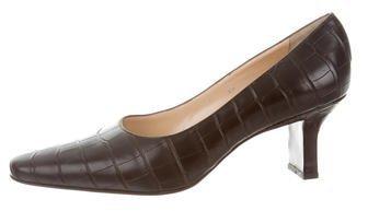 Ralph Lauren Crocodile Pointed-Toe Pumps