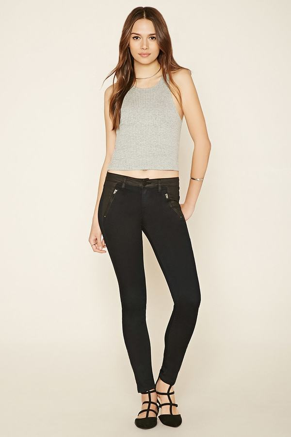 FOREVER 21+ Contemporary Life in Progress Paneled Skinny Jeans