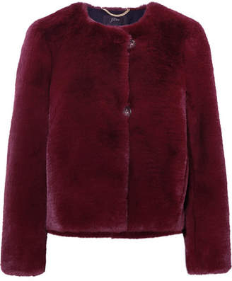 J.Crew Faux Fur Jacket - Burgundy