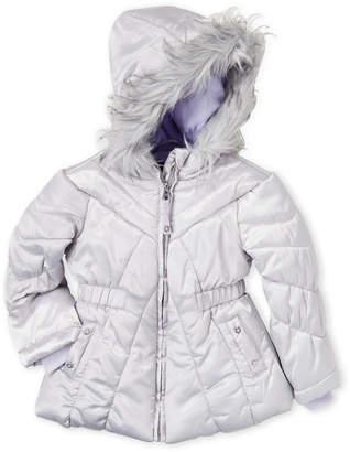 Jessica Simpson Toddler Girls) Faux Fur Trim Silver Puffer Coat