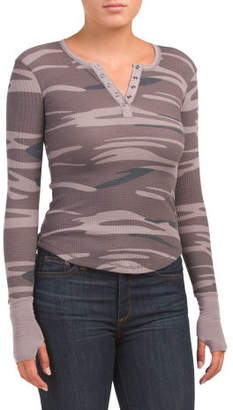 Petite Thermal Snap Henley Top