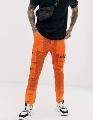 Asos Design DESIGN tapered sheer cargo pants in orange