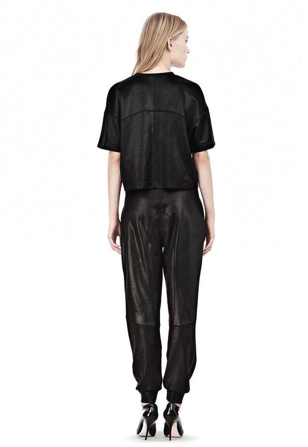 Alexander Wang Shiny Double Knit Boxy Short Sleeve Tee