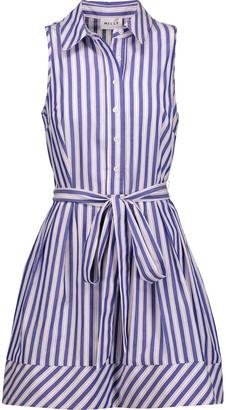 Milly Striped cotton-poplin mini dress