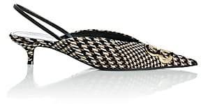 Balenciaga Women's Checked Tweed Slingback Pumps-Black