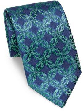 CharvetCharvet Circle Print Silk Tie