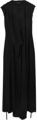 Ann Demeulemeester Hooded Crepe Maxi Dress - Black