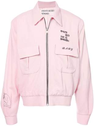 Enfants Riches Deprimes slogan zipped bomber jacket