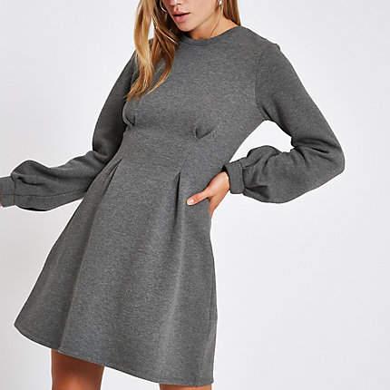 Womens Grey long sleeve sweater dress