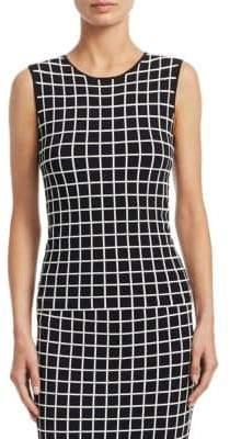 Akris Punto Grid-Print Knit Top
