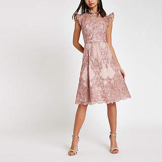 River Island Chi Chi London pink lace flare dress
