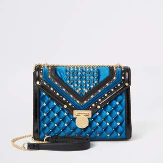 River Island Womens Navy studded quilted cross body bag