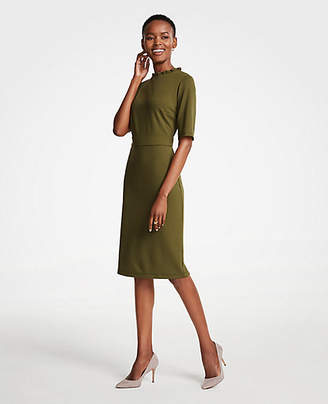 Ann Taylor Ruffle Neck Ponte Sheath Dress