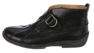 Ralph Lauren Black Label Leather Round-Toe Ankle Boots
