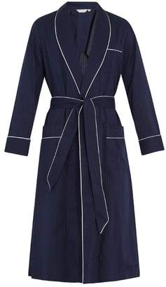 Derek Rose Royal Polka Dot Cotton Bathrobe - Mens - Navy