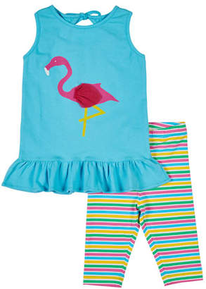 Florence Eiseman Flamingo Tank w/ Multi-Stripe Leggings, Size 2-6X