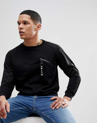 Soul Star Crew Neck Ribbed Sleeve Tab Sweat