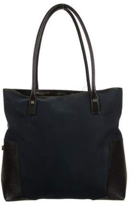 Salvatore Ferragamo Leather-Trimmed Canvas Tote blue Leather-Trimmed Canvas Tote
