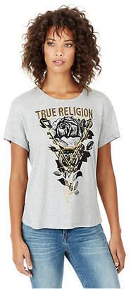 True Religion WOMENS ROSE GRAPHIC BOYFRIEND TEE