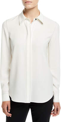 Lafayette 148 New York Olga Finesse Crepe Blouse with Topstitch Detail