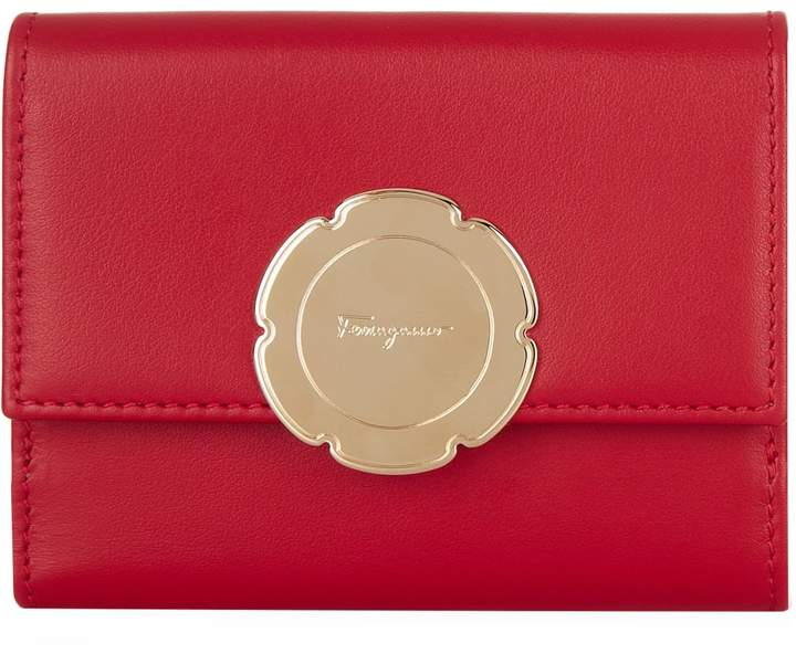 Salvatore Ferragamo Leather Flower French Wallet, Red, One Size