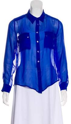 Equipment Sheer Button-Up Blouse