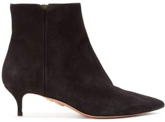 Aquazzura Quant 45 Point Toe Suede Ankle Boots - Womens - Black