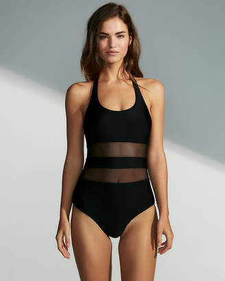 Express Halter Neck Mesh Cut-Out One-Piece Swimsuit