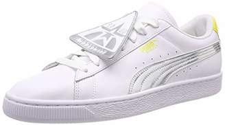 Puma Women's Basket Badge TZ Metallic WN's Low-Top Sneakers, White-Blazing Yellow